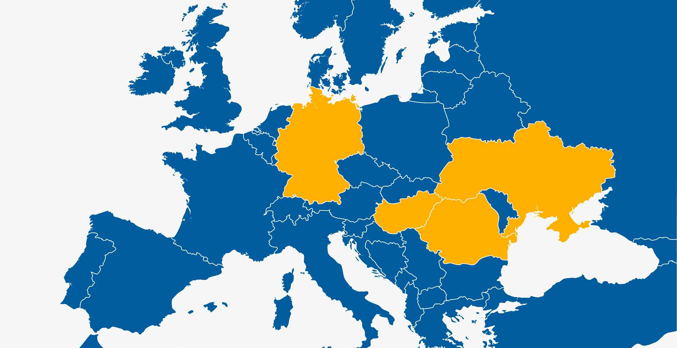Weltkarte, auf der die Länder hervorgehoben wurden, in denen der CHD arbeitet.