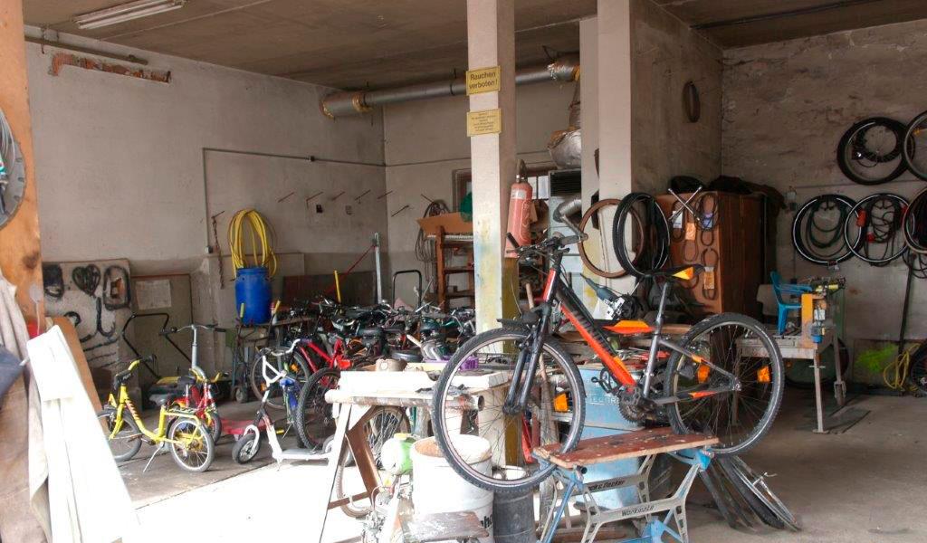 Ein Blick in die Fahrradwerkstatt